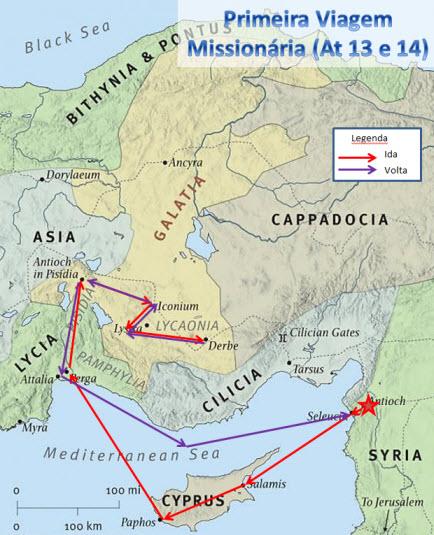 Mapa da Primeira Viagem Missionária de Paulo